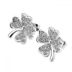 14K White Gold Plated Four Leaf Clo..
