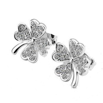 14K White Gold Plated Four Leaf Clover Earrings